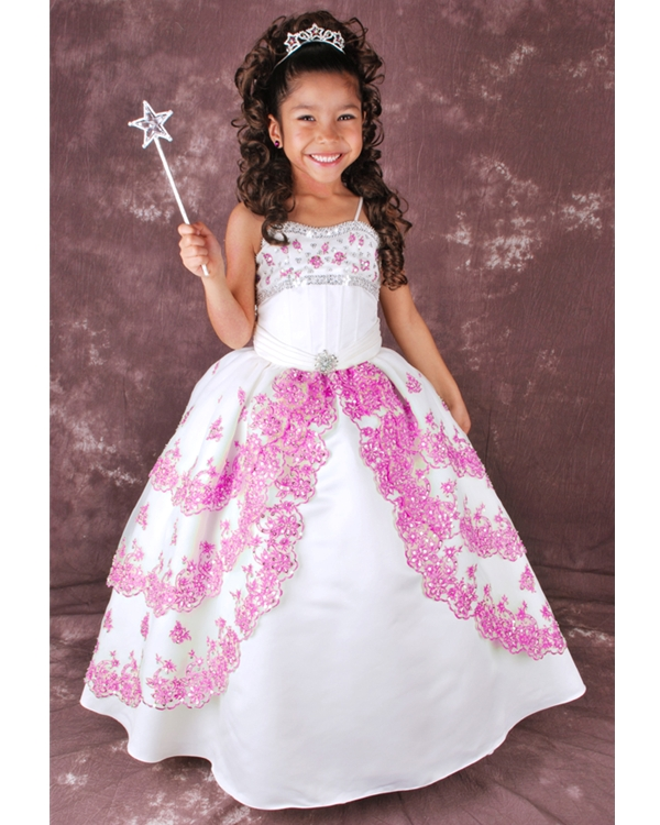 White Ball Gown Spaghetti Straps Lace Up Floor Length Flower Girl Dresses With Pink Appliques