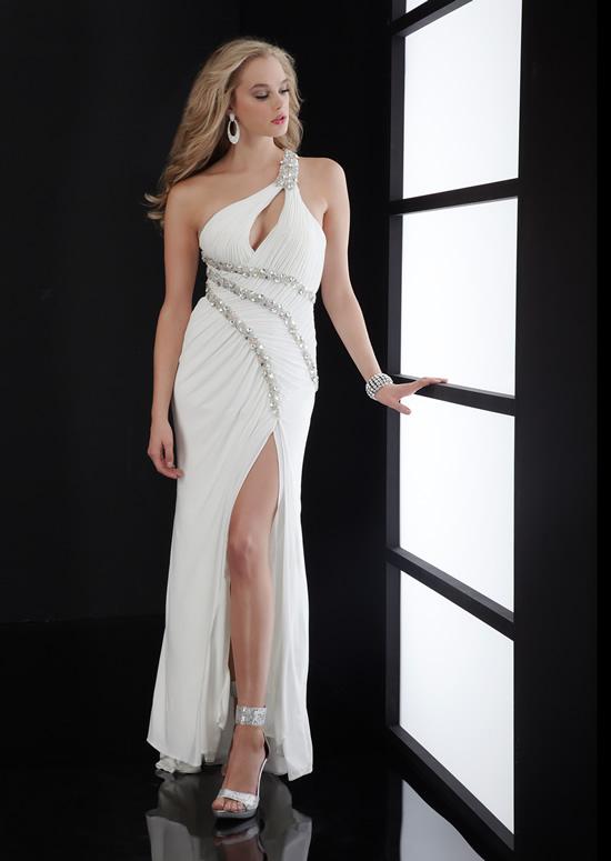 White Column One Shoulder Low Back Ankle Length Chiffon Evening Dresses With Beading And High Slit