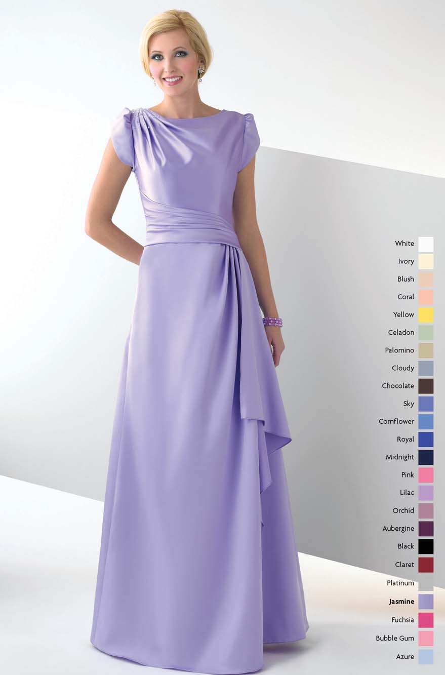 Lavender Bateau Zipper Full Length A Line Mother Of Bride Dresses With Drapes