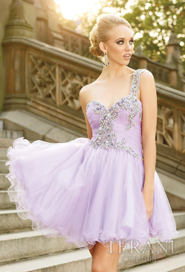 Lavender A Line One Shoulder Zipper Short Mini Tulle Cocktail Dresses With Beading Embroidery And Ruffles