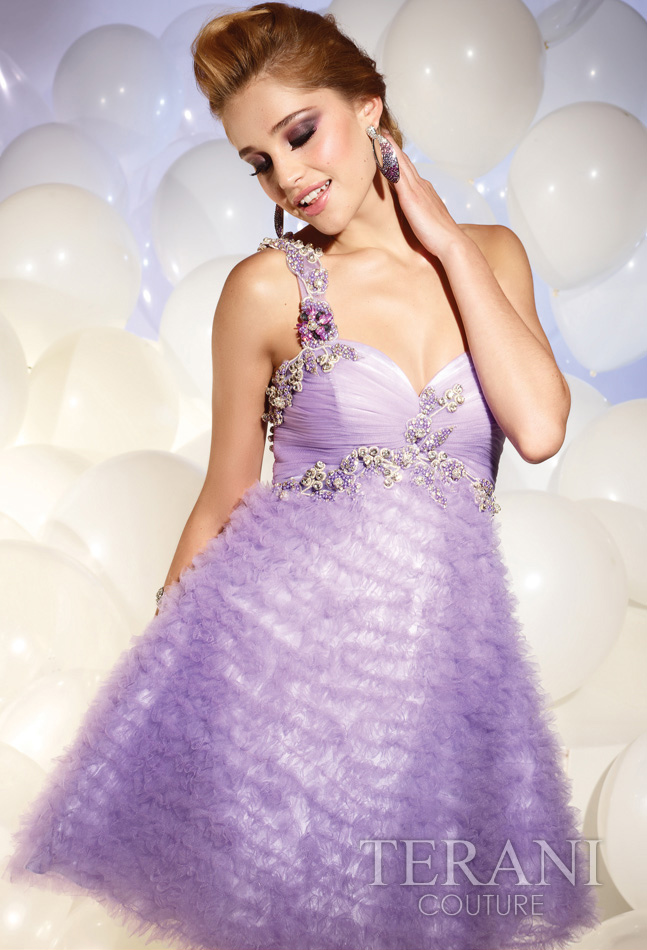 Lavender A Line One Shoulder Zipper Short Mini Cocktail Dresses With Jewel And Ruffles