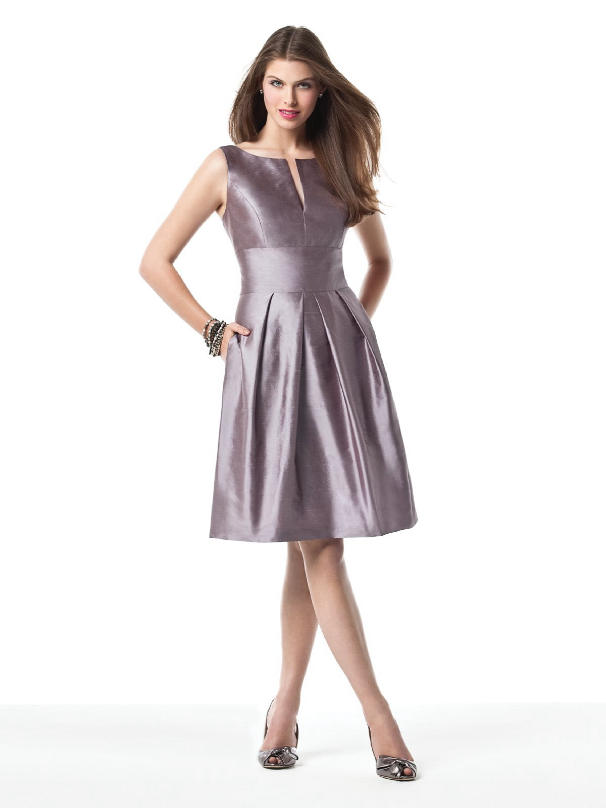 Lavender A Line Sleeveless And Bateau Low Back Knee Length Prom Dresses With Draped Skirt