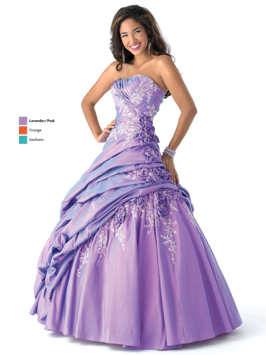 Lavender A Line Strapless Lace Up Full Length Taffeta Prom Dresses With Embroidery And Appliques