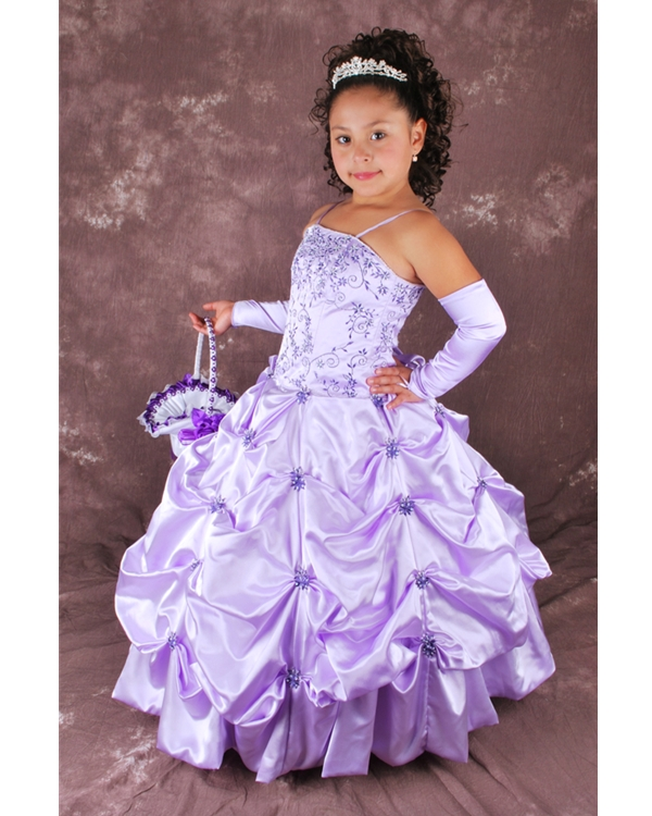 Lavender Spaghetti Straps Lace Up Full Length Ball Gown Flower Girl Dresses With Embroidery And Twist Drapes