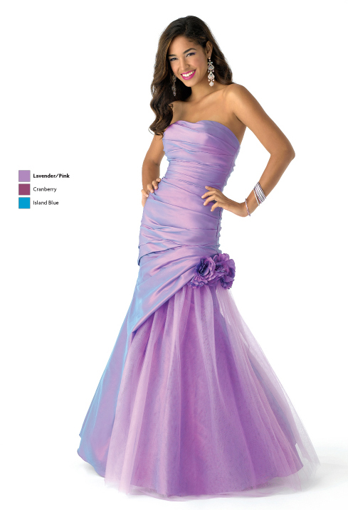Lavender Mermaid Strapless Lace Up Full Length Satin Tulle Prom Dresses