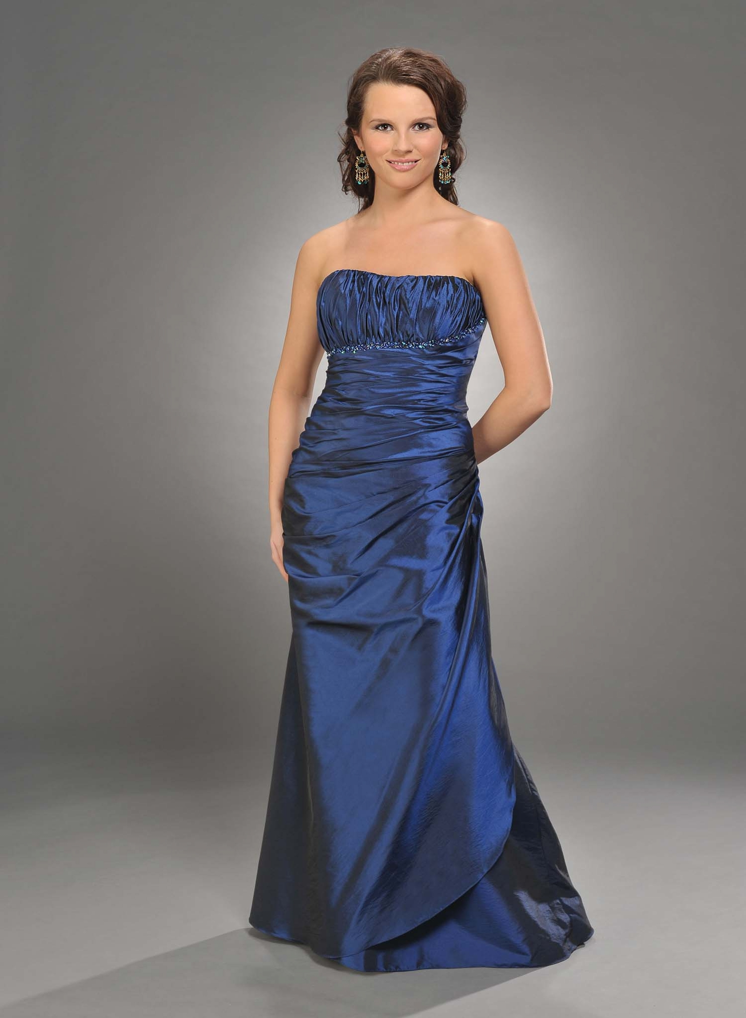 Navy Blue Strapless Zipper Floor Length Trumpet Mother Of Bride Dresses With Sequins And Ruffles
