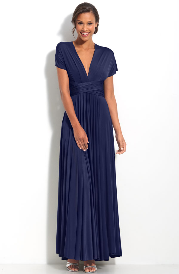 Navy Blue Deep V Neck And Short Sleevess Ankle Length Pleated Mother Of Bride Dresses