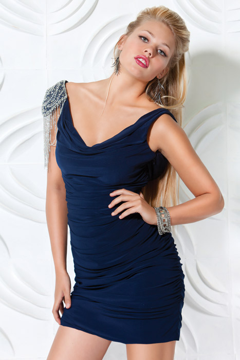 Navy Blue V Neck And Sleeveless Low Back Short Mini Sheath Graduation Dresses With Beading And Pleats