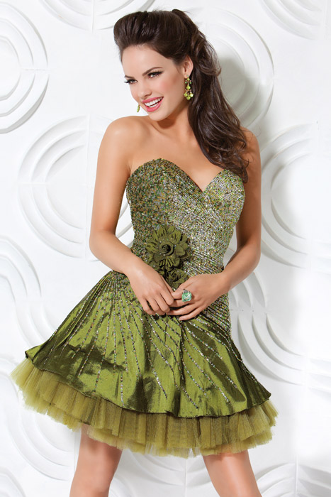 Olive A Line Strapless Sweetheart Lace Up Short Mini Cocktail Dresses With Sequins And Flowers