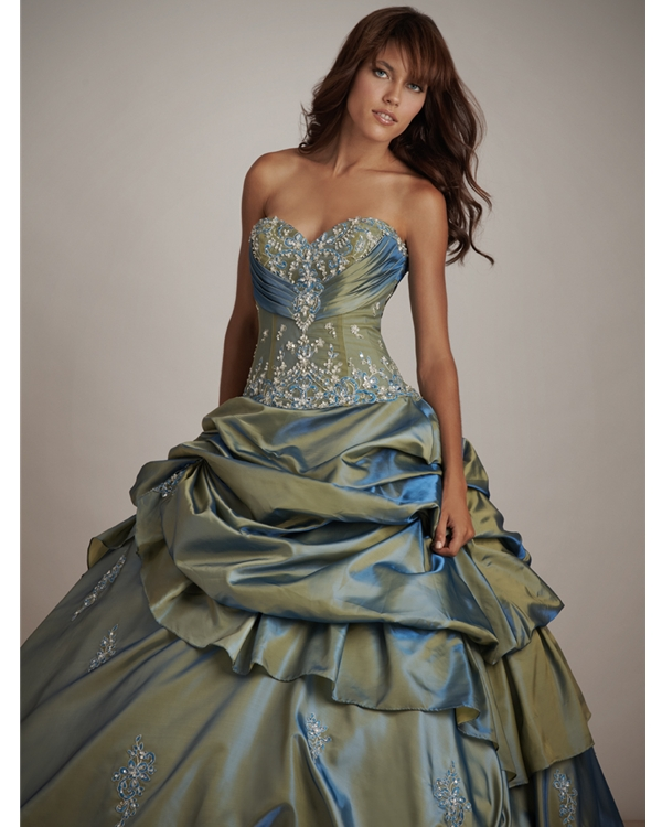 Olive Ball Gown Strapless Sweetheart Lace Up Floor Length Beading Embroidered Quinceanera Dresses With Twist Drapes