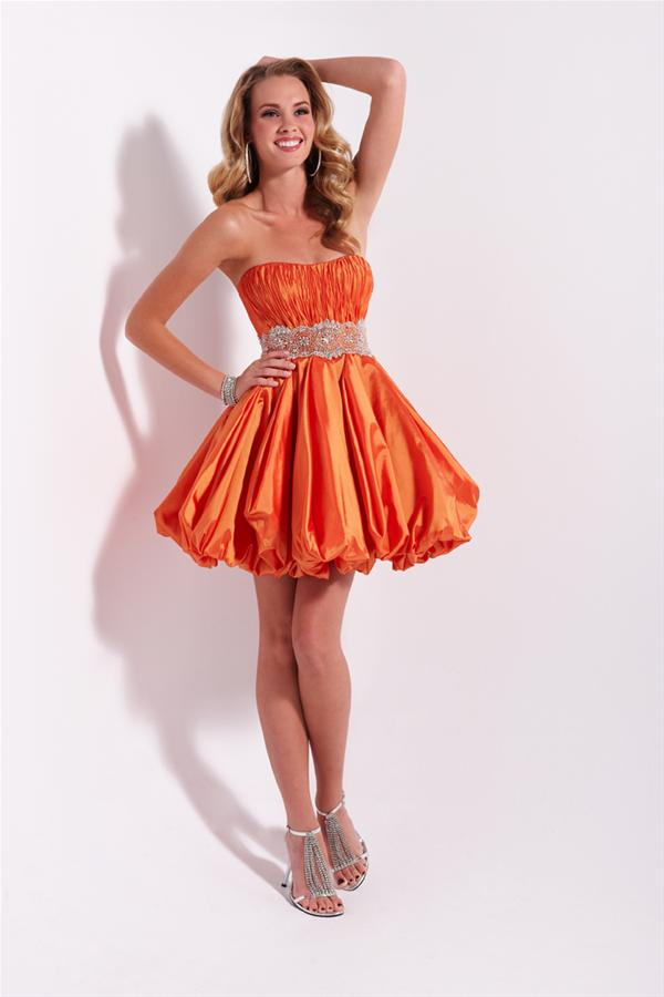 Orange A Line Strapless Sweetheart Zipper Pleats Short Mini Cocktail Dresses With Beadings