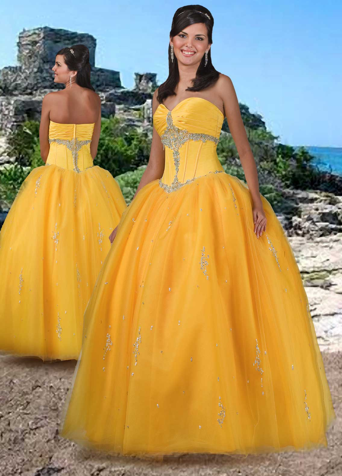 Yellow Orange Ball Gown Strapless Sweetheart Zipper Floor Length Quinceanera Dresses With Beading