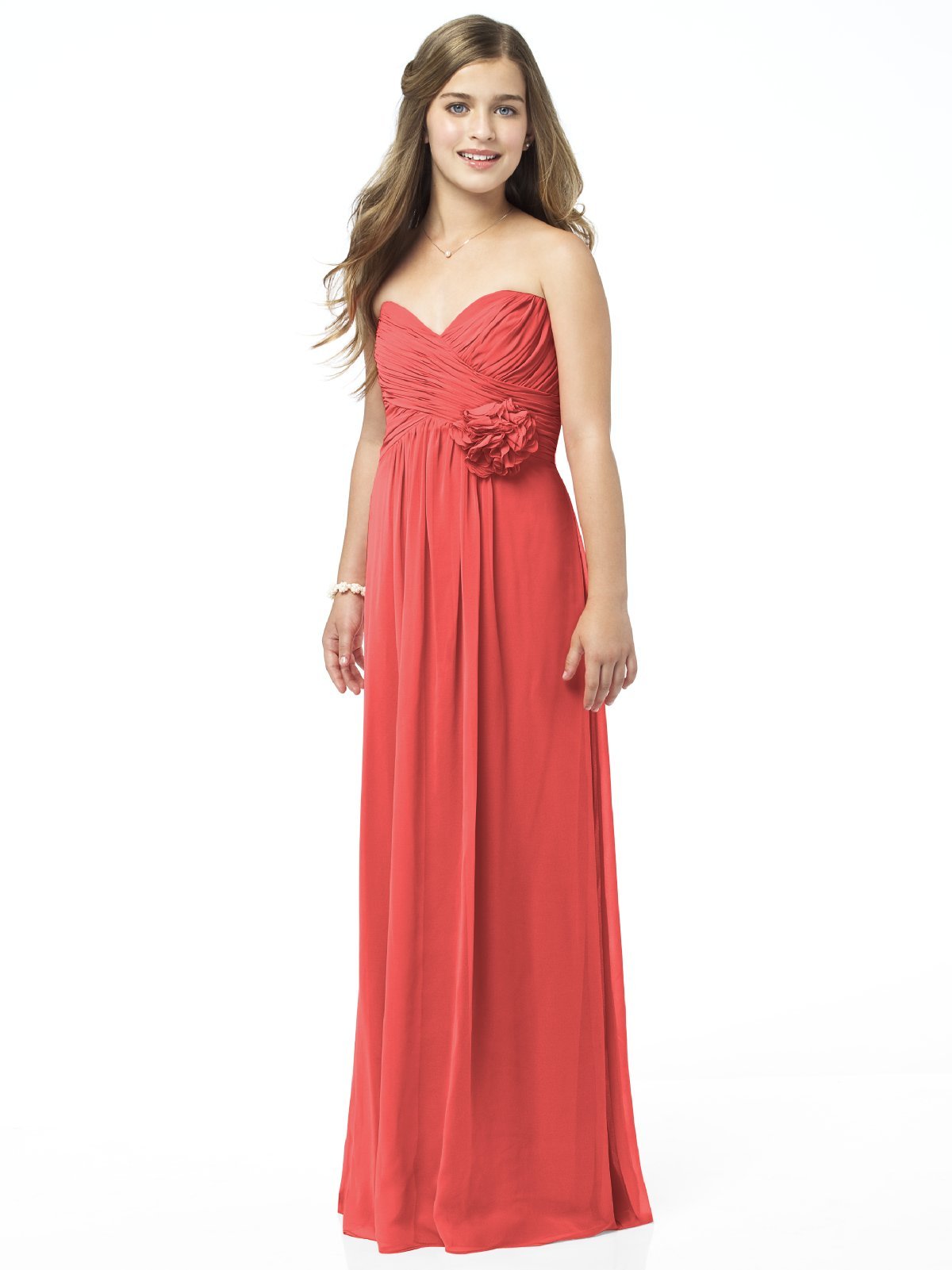 Orange Red Column Strapless Sweetheart Zipper Ruffles And Flowers Floor Length Chiffon Prom Dresses