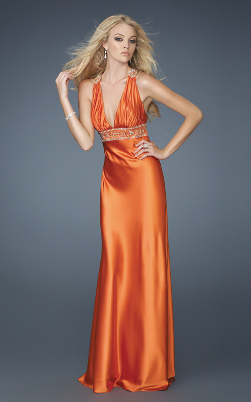 Orange Empire Sheath Deep V Neck Open Back Sweep Train Floor Length Evening Dresses With Beading