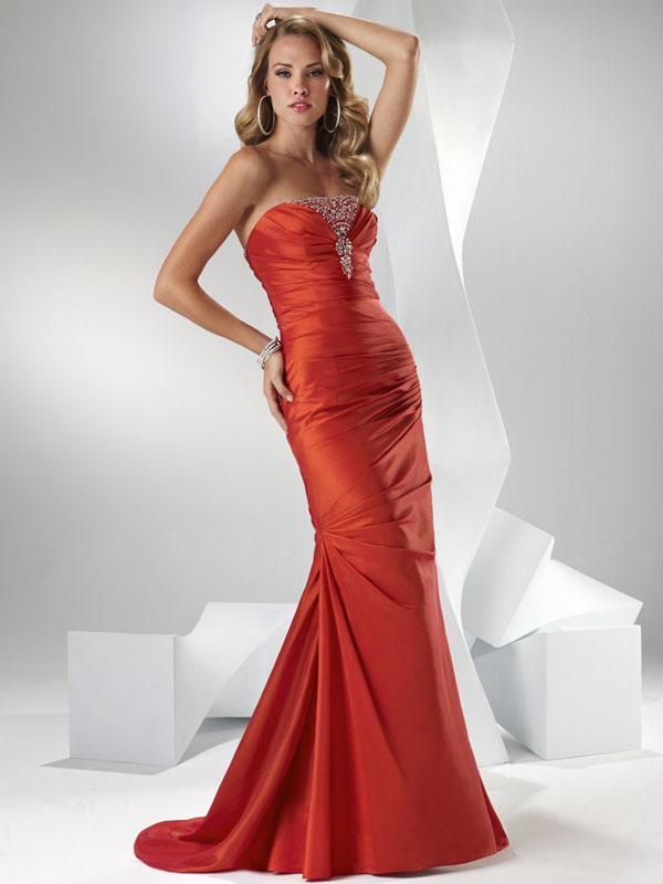 Orange Mermaid Strapless Lace Up Sweep Train Full Length Evening Dresses With Beading And Drapes