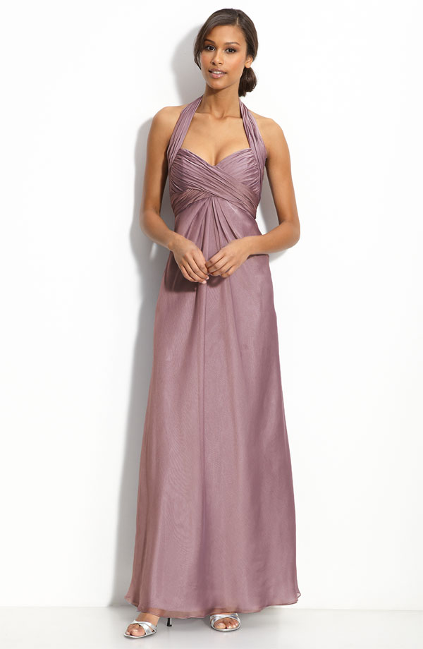 Deep Skin Pink A Line Halter And V Neck Zipper Ankle Length Pleated Prom Dresses