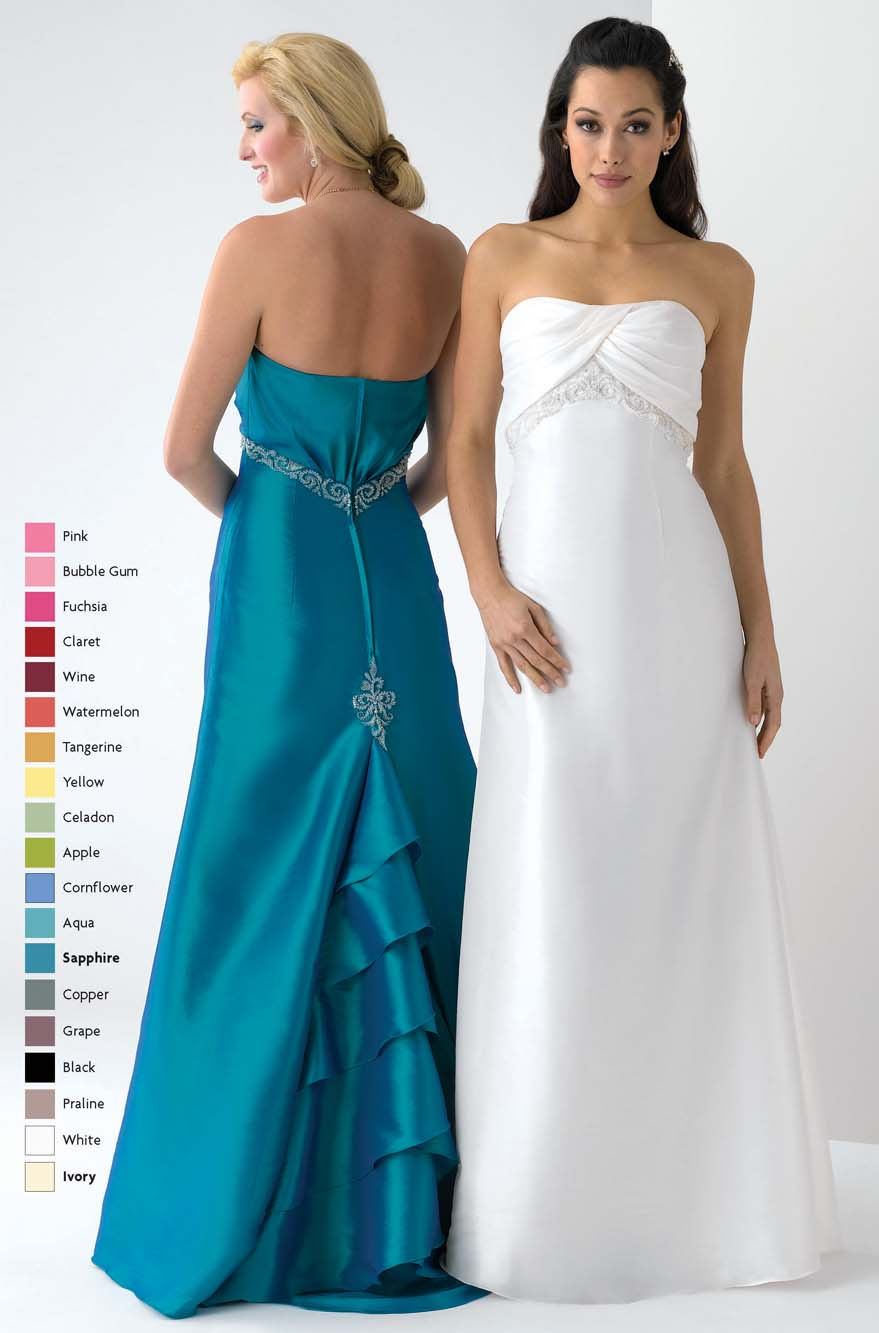 Sapphire A Line Strapless Zipper Floor Length Satin Prom Dresses With Ruffles And Embroidery