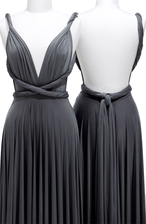 Pewter Column Deep V Neck Backless Pleated Knee Length Prom Dresses