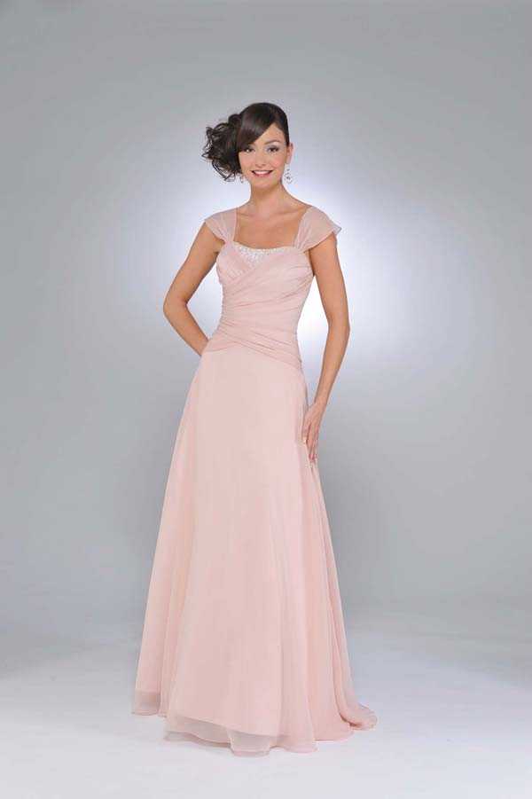 Pearl Pink A Line Cap Sleeves And Square Open Back Ruffled Floor Length Chiffon Prom Dresses