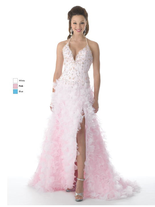 Pink A Line Halter And V Neck Low Back Sweep Train Full Length Prom Dresses With Beading And Ruffles And High Slit