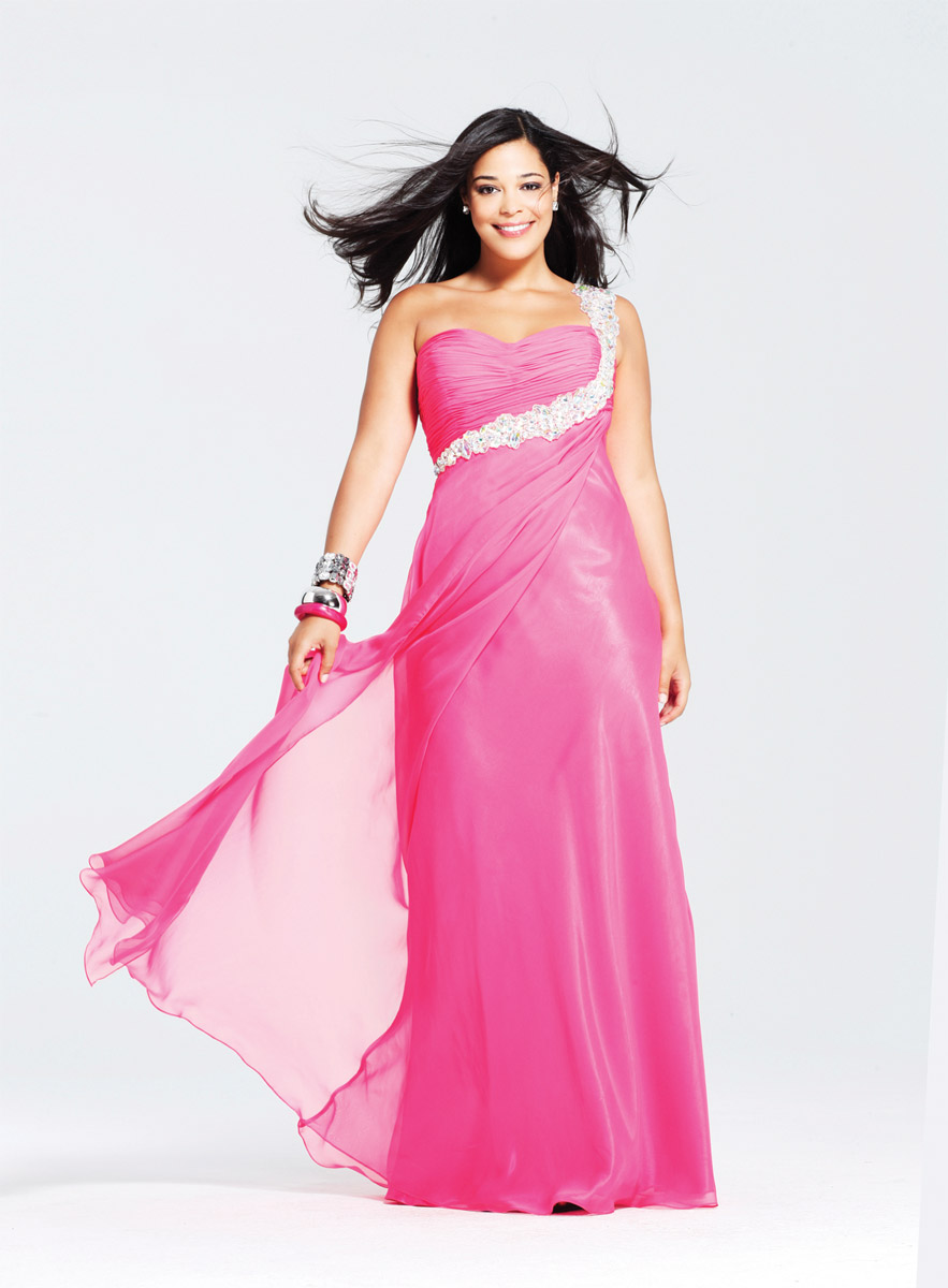 Airy Pink A Line One Shoulder Low Back Full Length Evening Dresses With Appliques