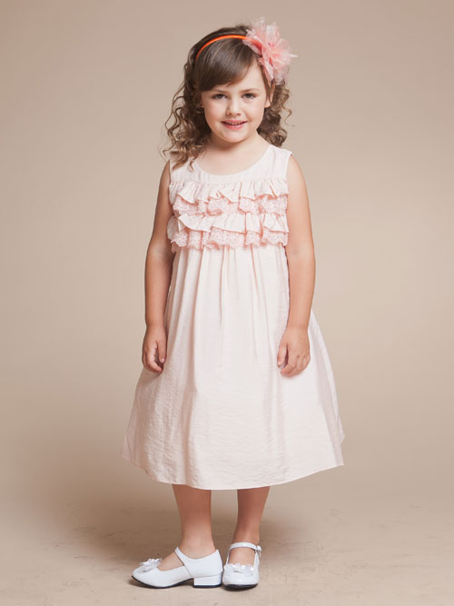 Baby Pink A Line Scoop Tea Length Flower Girl Dresses With Ruffles And Lace