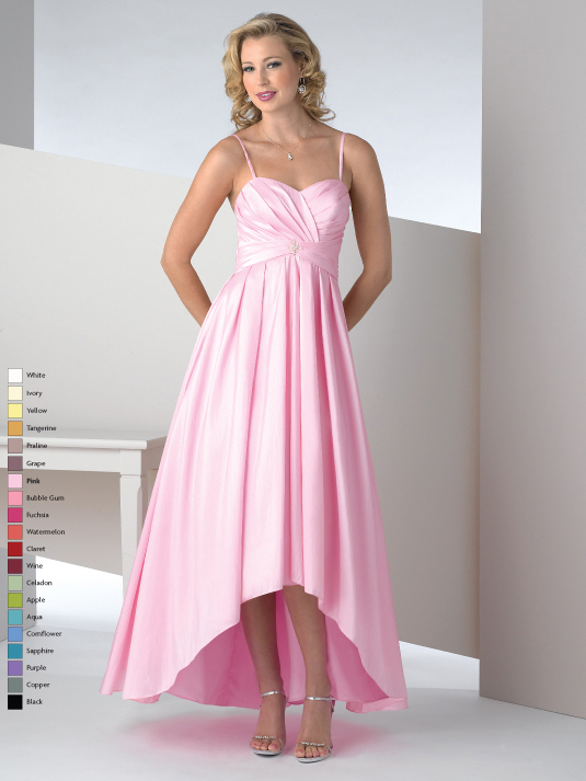 Pink A Line Spaghetti Straps And Sweetheart Drapes High Low Prom Dresses With Drapes