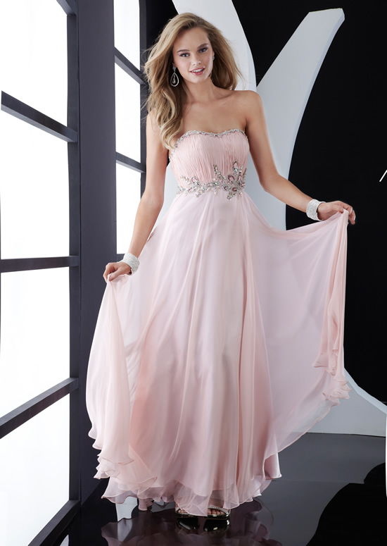 Pearl Pink A Line Strapless Sweetheart Zipper Floor Length Chiffon Evening Dresses With Jewel And Ruffles