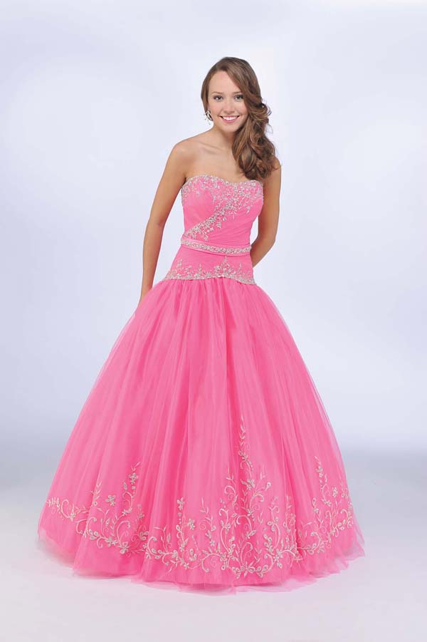 Pink A Line Strapless Sweetheart Zipper Full Length Quinceanera Dresses With Beading Embroidery And Bowknot