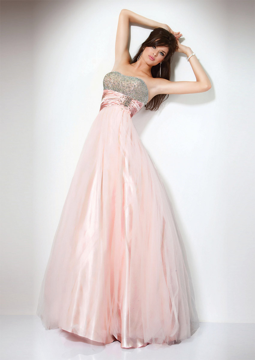 Baby Pink A Line Strapless Empire Zipper Full Length Graduation Dresses With Sequined Bodice