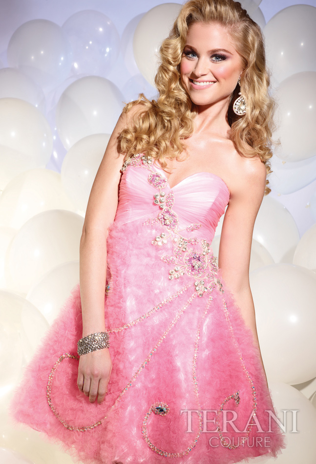 Pink A Line Strapless Sweetheart Zipper Short Mini Cocktail Dresses With Beading And Ruffles