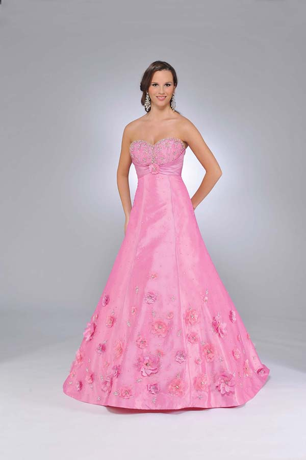 Pink A Line Strapless Sweetheart Zipper Sweep Train Full Length Satin Prom Dresses With Appliques And Beadings