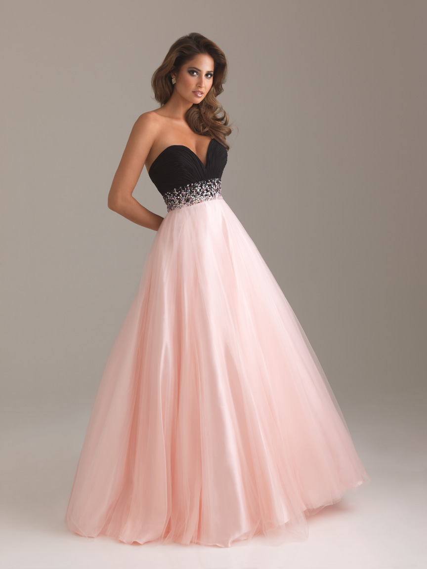 Pink And Black A Line Sweetheart Full Length Lace Up Tulle Prom Dresses With Sequined Empire Waist