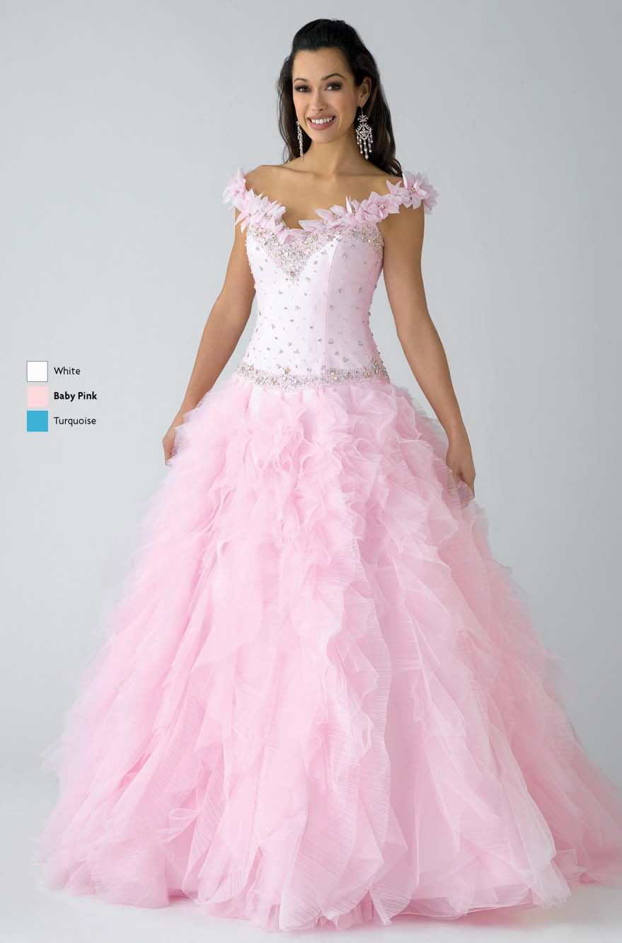 51134daa27b Pink Ball Gown Off The Shoulder And V Neck Zipper Sweep Train Floor Length  Ruffled Prom