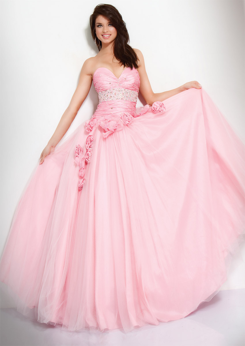 Pink Ball Gown Sweetheart Full Length Zipper Prom Dresses With Beading And Flowers