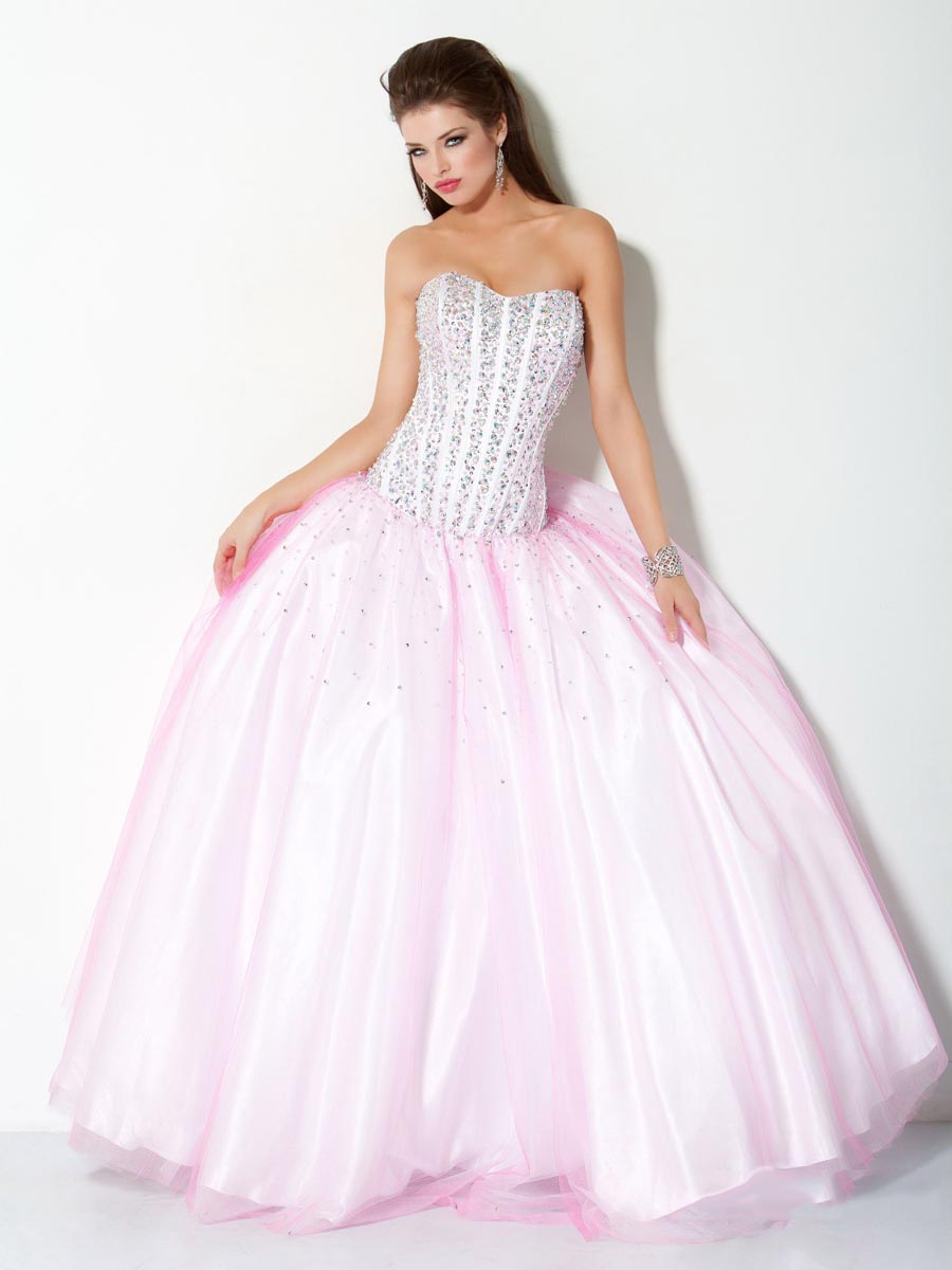 Baby Pink Ball Gown Sweetheart Full Length Zipper Prom Dresses With Sequins And Tulle