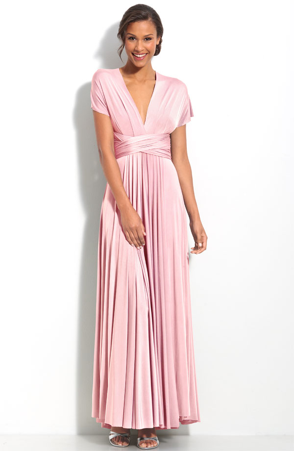 Pink Deep V Neck Short Sleevess Ankle Length Pleated Mother Of Bride Dresses