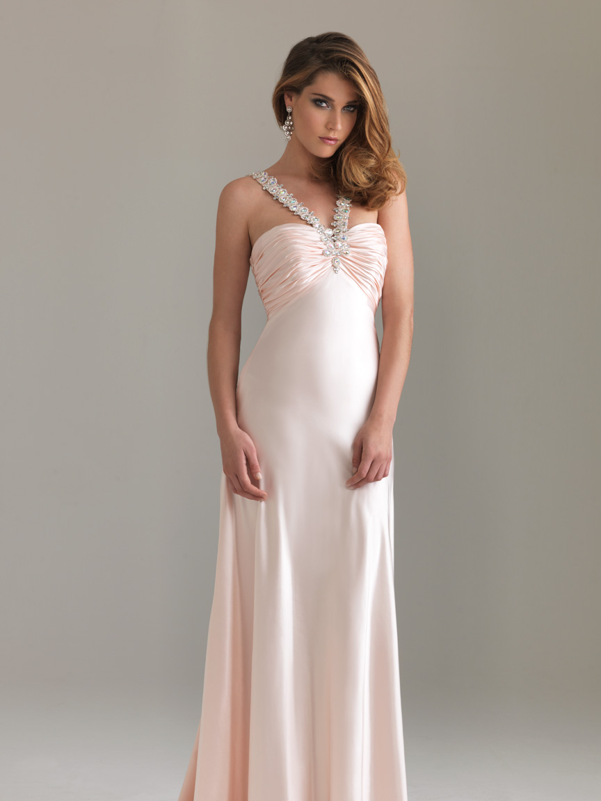 Pearl Pink Column Halter Open Back Floor Length Evening Dresses With Jewel And Ruches