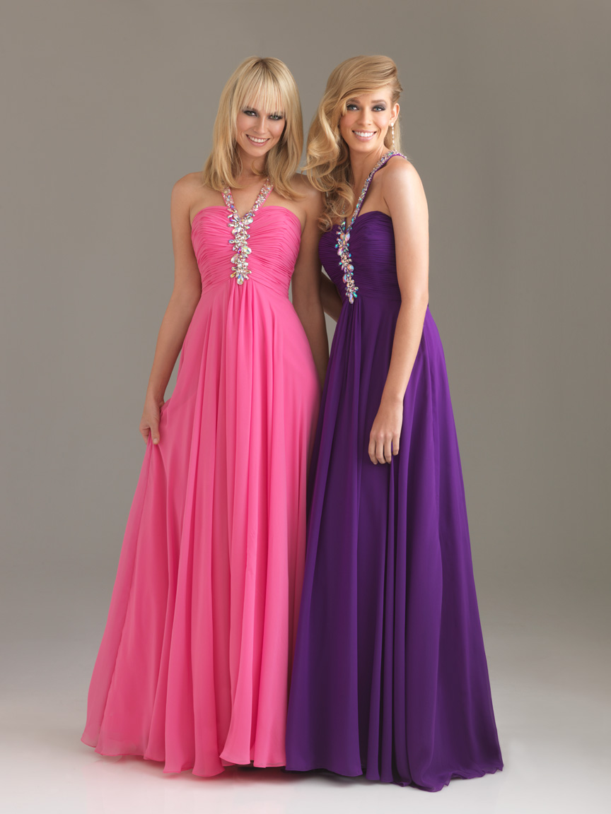 Pink Empire Halter Cross Back Floor Length Chiffon Evening Dresses With Beading And Drapes