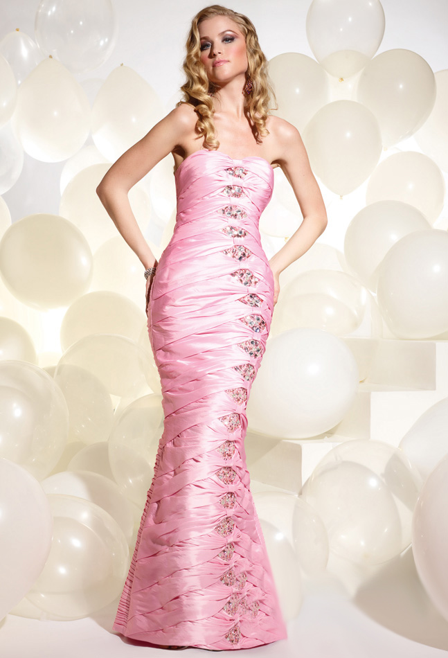 Pearl Pink Mermaid Strapless Zipper Beading And Draped Floor Length Evening Dresses