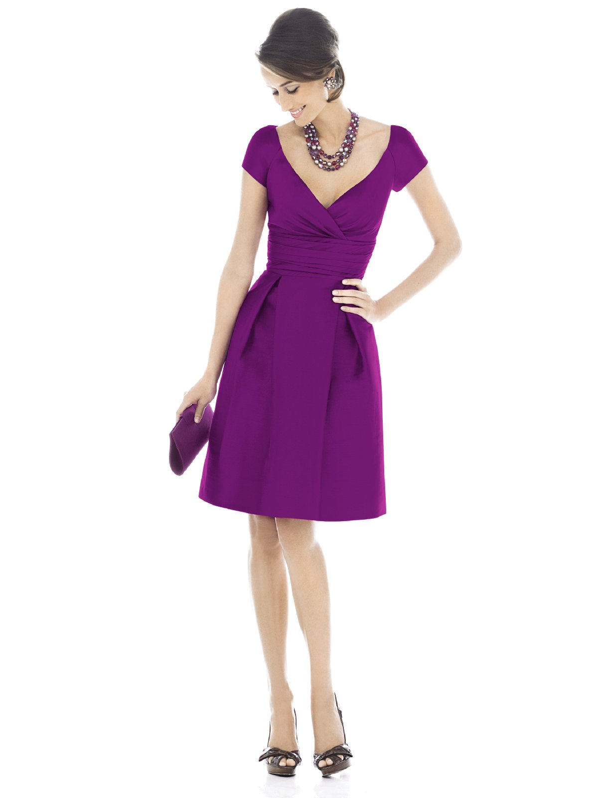 Purple A Line Deep V Neck Short Sleeve Zipper Knee Length Prom Dresses With Drapes