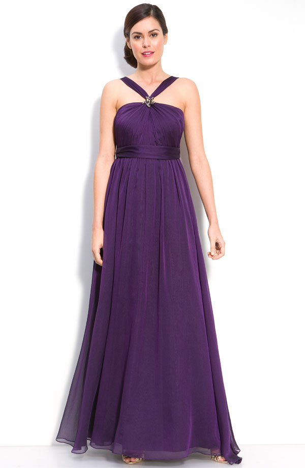 Purple A Line Halter Low Back Floor Length Chiffon Prom Dresses With Beading And Drapes