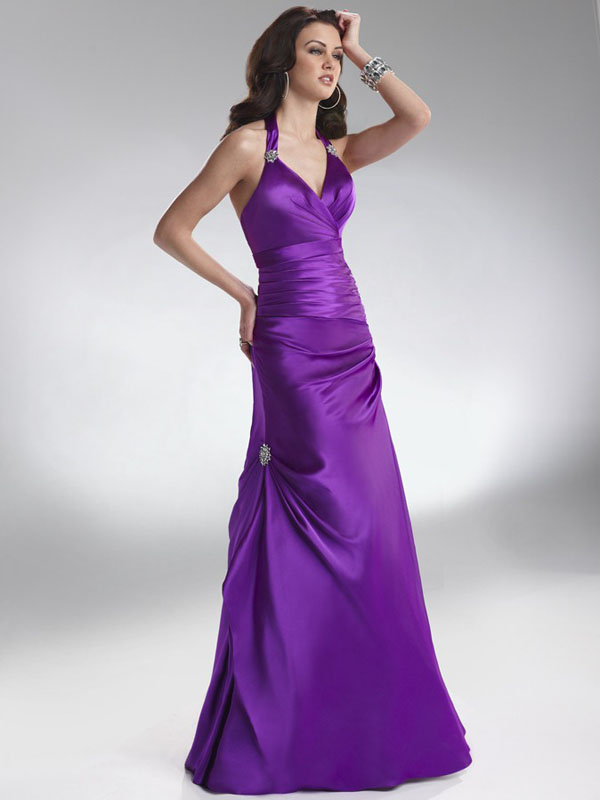 Purple A Line Halter Open Back Ruches Beadings Floor Length Evening Dresses