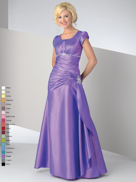 Lavender Square Neck Short Sleeve Zipper Full Length A Line Mother Of Bride Dresses With Beadings And Pleats