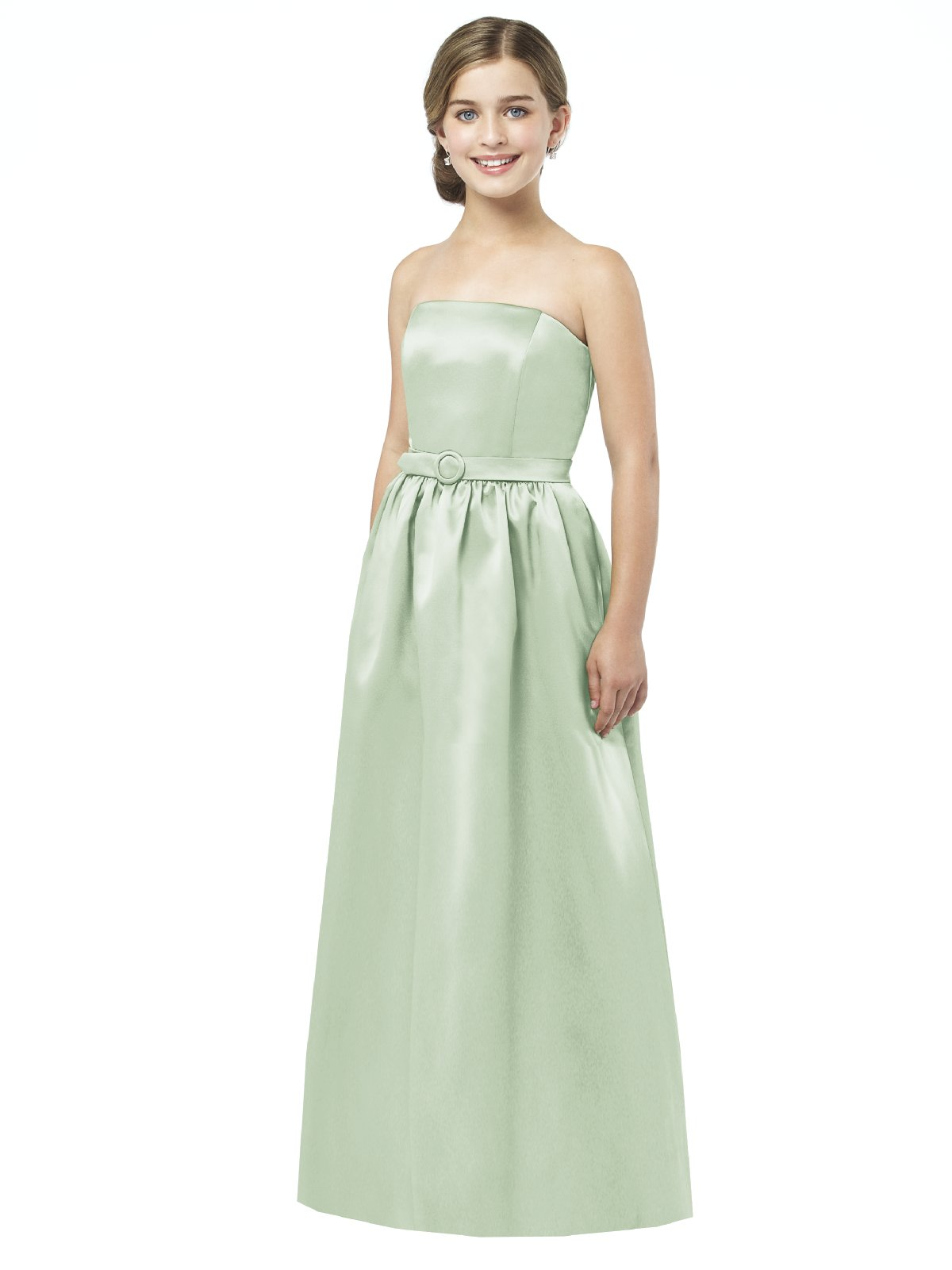 Pale Sage A Line Strapless Zipper Floor Length Satin Prom Dresses With Belt And Draped Skirt