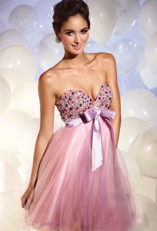 Lilac Empire Strapless Sweetheart Zipper Short Mini Chiffon Cocktail Dresses With Jewel And Sash