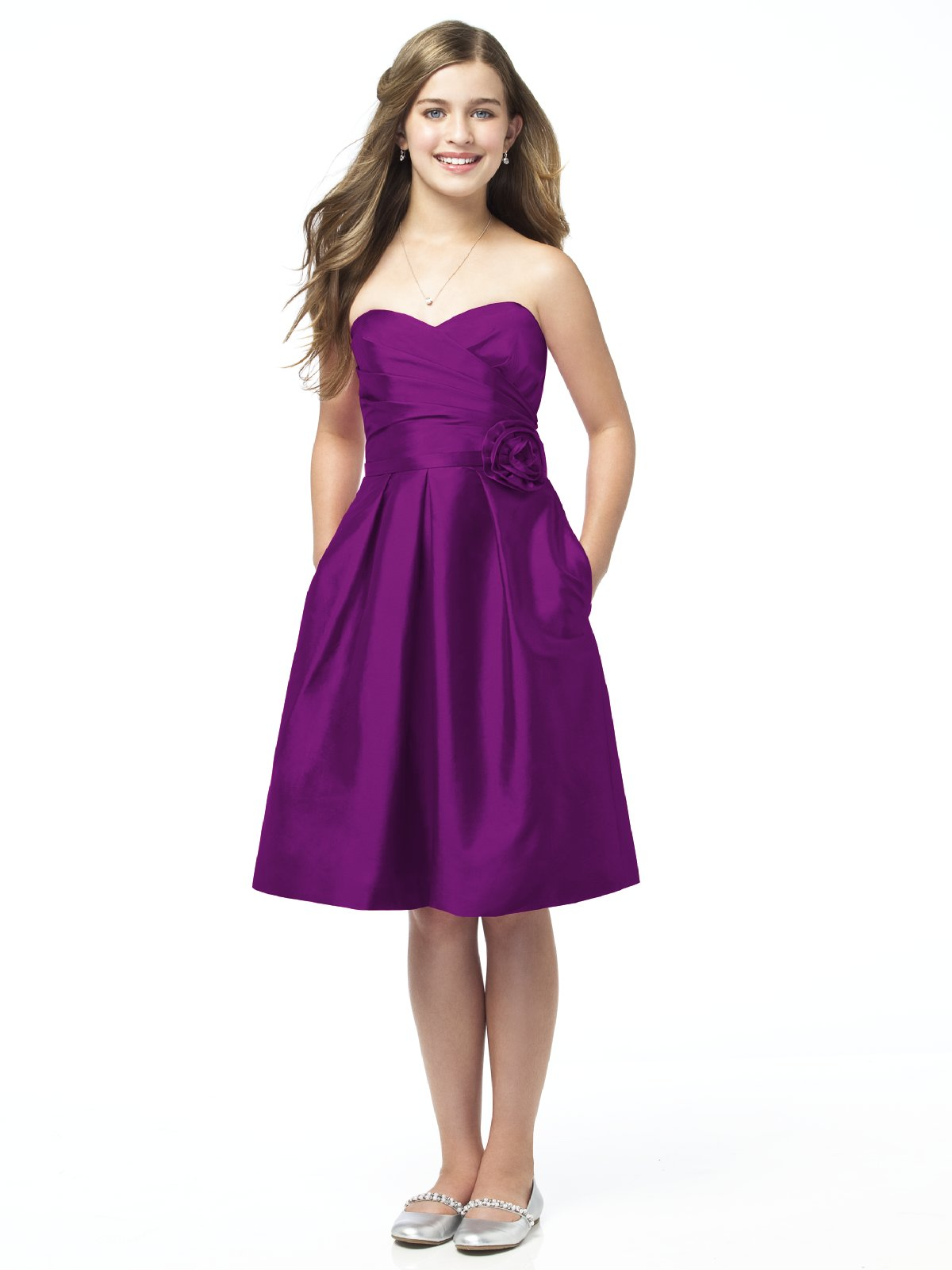 Purple A Line Strapless Sweetheart Zipper Knee Length Satin Prom Dresses With Flowers And Pockets