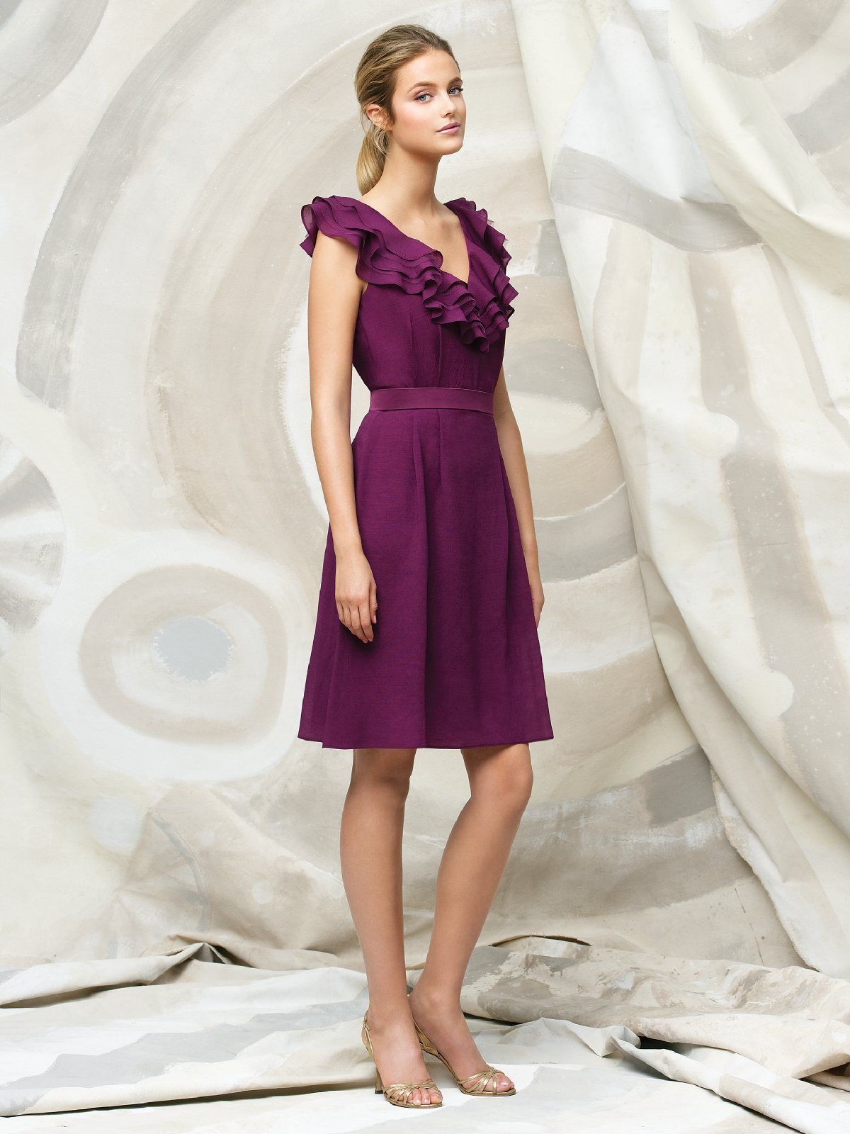 Purple A Line V Neck And Sleeveless Zipper Knee Length Chiffon Prom Dresses With Ruffles And Belt
