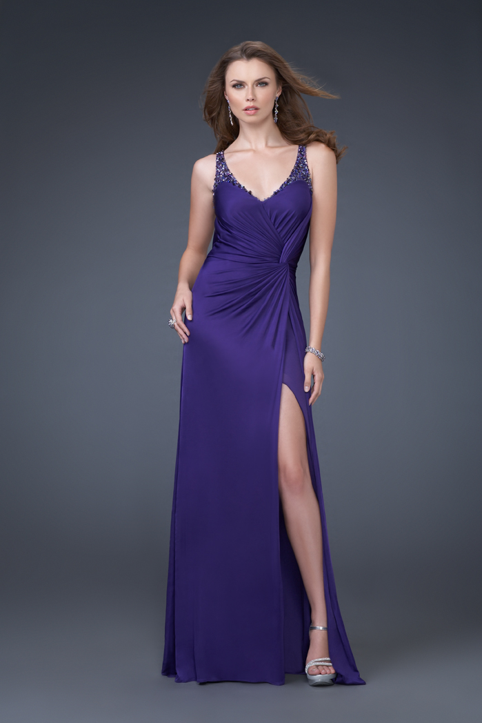 Purple A Line V Neck And Strap High Slit Open Back Sweep Train Floor Length Evening Dresses With Beading And Drapes