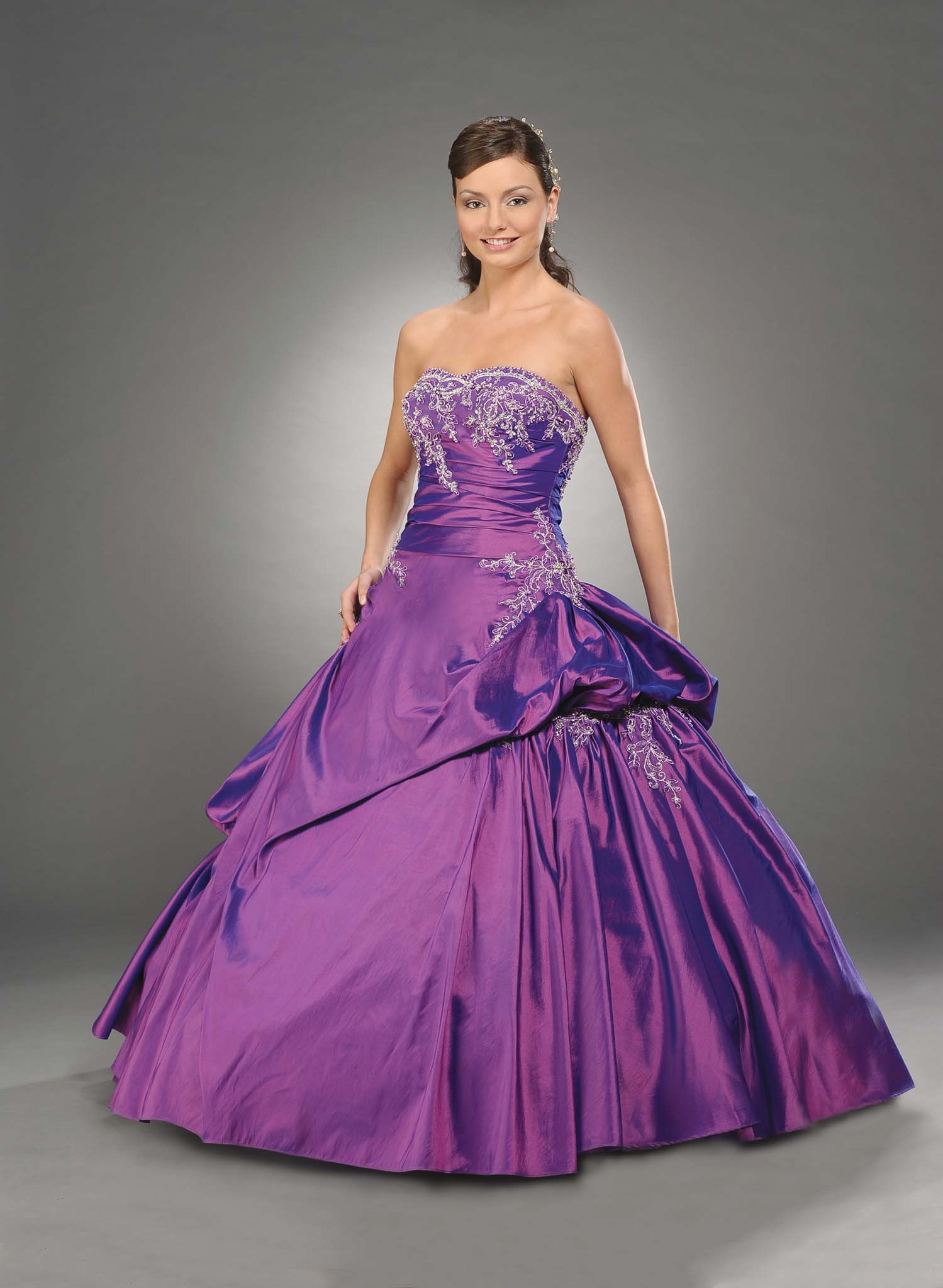 59f717ff70f Purple Ball Gown Strapless Bandage Floor Length Beaded Taffeta Quinceanera  Dresses